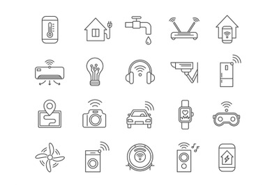 Iot line icons. Internet of things wireless technology, house applianc