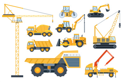 Construction heavy equipment. Crane and building machinery, road rolle