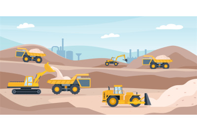Quarry landscape. Sand pit with heavy mining equipment, bulldozer, dig
