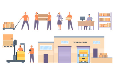Logistics workers. Merchandise warehouse building and truck, shelves w