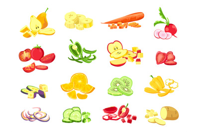 Sliced fruit and vegetable. Cartoon vegetarian food cutted slices, rin