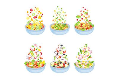 Vegetable salad. Healthy vegetarian dish explosion. Floating fruit sli