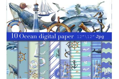 Sea watercolor paper, Nautical Pattern