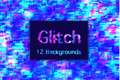12 Glitch Backgrounds with neon colors. Size 12inch* 12inch.