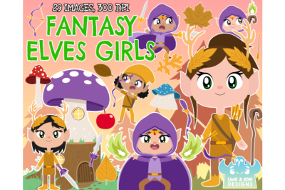 Fantasy Elves (Girls) Clipart - Lime and Kiwi Designs