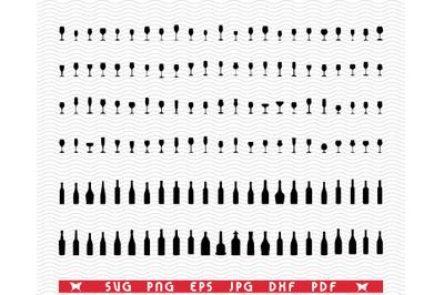 SVG Wine Bottles and Glasses , Black silhouette, Digital clipart