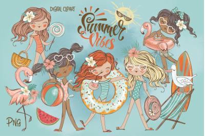 Girls weekend clipart Png. Travel clipart. Kids beach summer digital