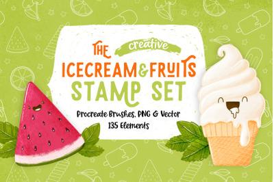Procreate Icecream & Fruits Stamps