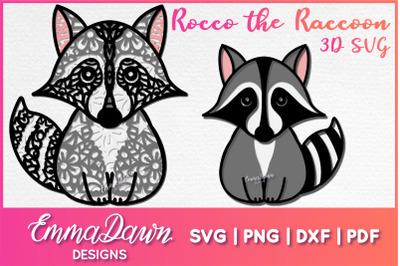ROCCO THE RACCOON 3D SVG, 2 Layered Mandala Designs