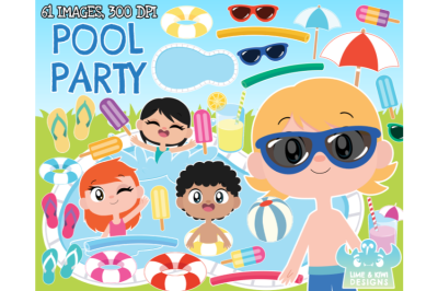 Pool Party Clipart - Lime and Kiwi Designs
