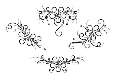 Flowers, swirls and curls design element.