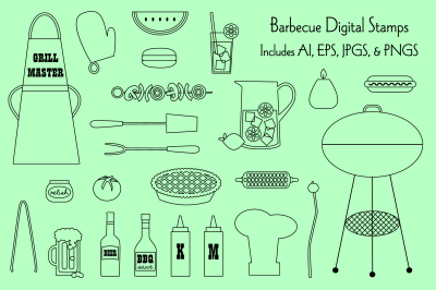 Barbecue Digital Stamps