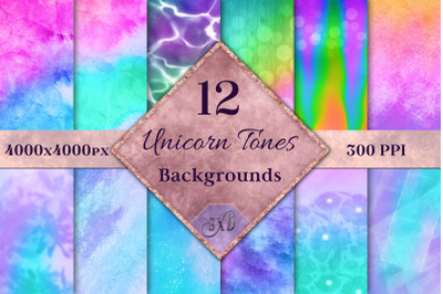 Unicorn Tones Backgrounds - 12 Image Set