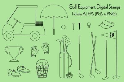 Golfing Equipment Digital Stamps