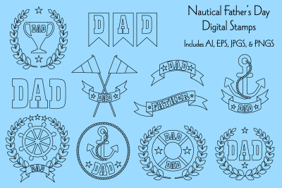 Nautical Father's Day Digital Stamps