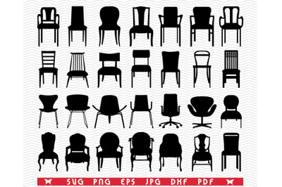 SVG Chairs, Armchairs, Black silhouettes digital clipart