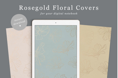 Flower Goodnotes and other planner covers  Rosegold