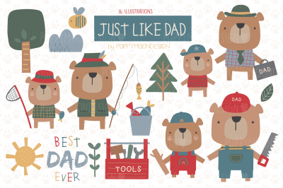 Just Like Dad clipart set
