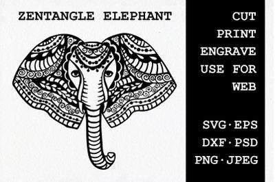 Zentangle Elephant | SVG DXF EPS PSD PNG JPEG