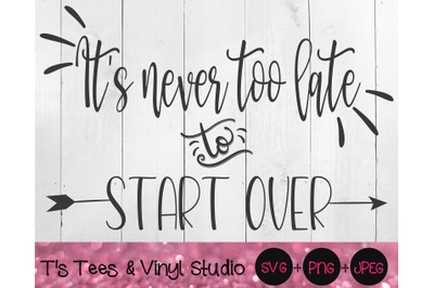 It's Never Too Late, To Start Over, Inspirational SVG, Motivational PN