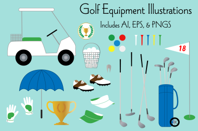 Golfing Equipment Illustrations
