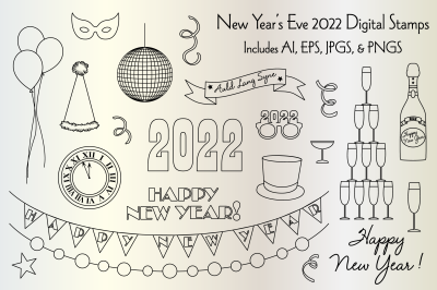 New Year's Eve 2022 Digital Stamps