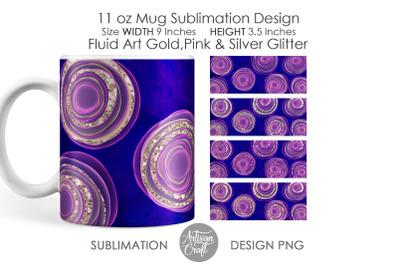 11 oz Mug sublimation design, fluid painting, chunky glitter