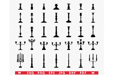 SVG Candlesticks, Black silhouettes, Digital clipart
