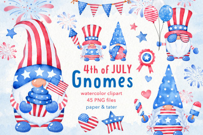 Watercolor 4th of JULY Gnomes Clipart, Independence Day PNG
