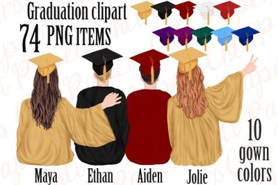 Graduation Clipart,Graduation gowns,People sitting,Grad hats