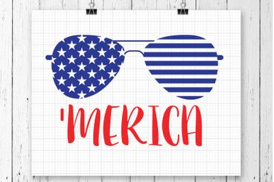 Merica Flag Glasses SVG Printable