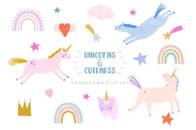 Unicorns and rainbows clip art