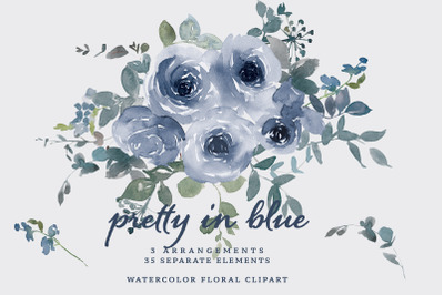 Watercolor Dusty Blue Roses Clipart
