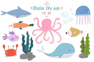 Sea creatures handdrawn clipart