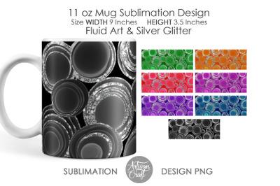 11 oz mug sublimation design, Fluid art, Chunky Glitter