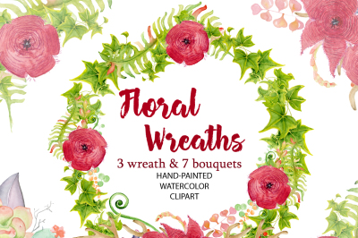 Watercolor Floral Wreath clipart