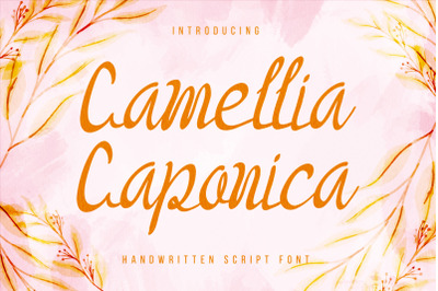 Camellia Caponica - sweet and cursive handwritten font.