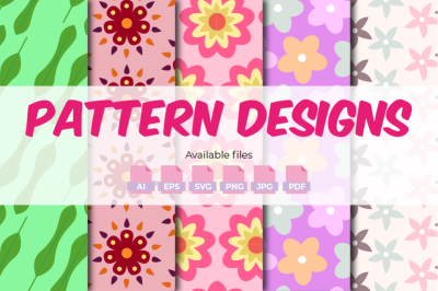 Seamless Flower Patterns - 5 Designs