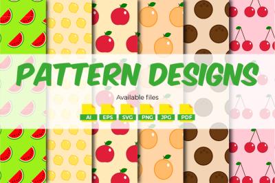 Seamless Fruit Patterns - 6 Designs