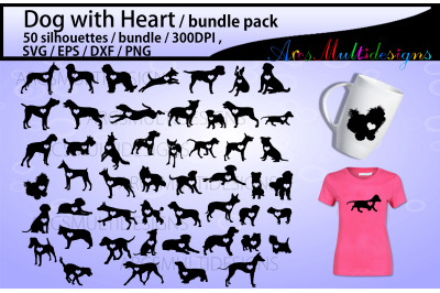 Dog with heart silhouette bundle