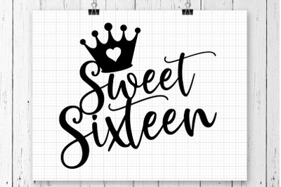 Sweet Sixteen SVG Printable