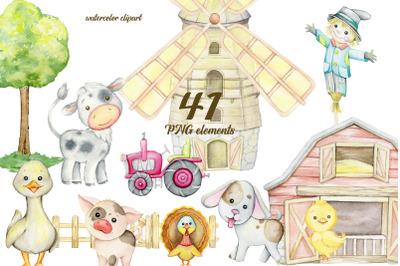 Farm animal watercolor clipart, farm baby nursery, cute farm graphic,