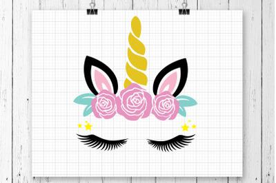 Unicorn Head Flowers SVG Clipart Printable