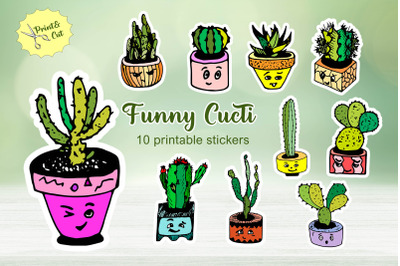 Cartoon cactuses cute sticker pack / Printable PNG stickers