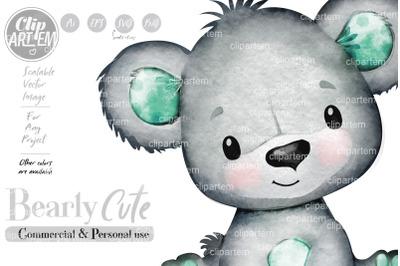 Gender Neutral Cute Little Mint Baby Bear Watercolor Clip Art