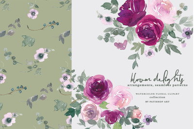 Blush & Magenta Watercolor Floral Clipart and Patterns