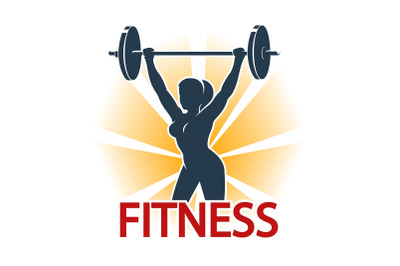 Fitness Emblem with silhouette of woman doing barbell exercise