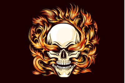 Skull Burning in Hell Fire Tattoo
