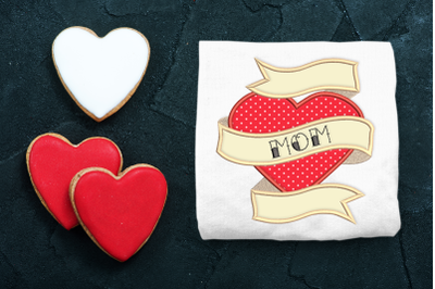 Mom Heart Tattoo   Applique Embroidery