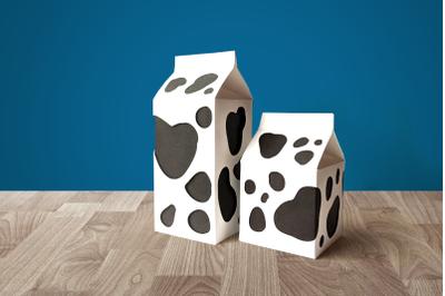 Milk Carton Boxes with Cow Spot Cutouts